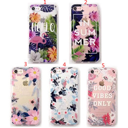 Wholesale Flower Case For Iphone - For iPhone 6 6S 7 Plus Hello In Summer Good Vibes Only Love Flower Flamingo Soft Silicone TPU Cover Case