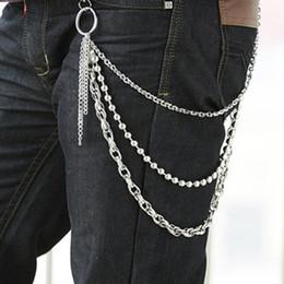 Wholesale Narrow Trousers - Wholesale- 2017 Trousers Chain Classic Jeans Chains Punk Men Unique Hip-hop Chains Cool Party Waist Chain Street Fashion