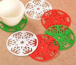 Wholesale pad decor - Merry Christmas Snowflakes Cup Mat Christmas Decorations Dinner Party Dish Tray Pad for Home Decor