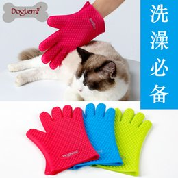 Wholesale Silicon Cleaning Brush - Pet Grooming Glove Dog Cat Bath Brush Silicon Waterproof