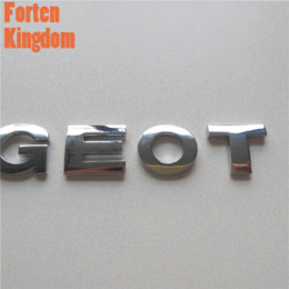 Wholesale Tape For Carbon - Forten Kingdom Car 3D Letter Emblem Sticker Logo Chrome Trail Badge For Peugeot 3M Tape Auto Metal Nameplate Styling Decal