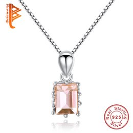 Wholesale 925 Champagne - BELAWANG New 925 Sterling Silver Square Cut Brilliant Champagne Gold&Pink Crystal Necklaces For Women Cubic Zircon Necklace Elegant Jewelry