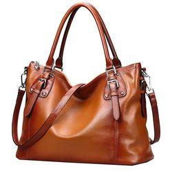 Wholesale Cross Body Totes For Women - genuine leather handbag Womens Vintage Handbags Shoulder Tote Top Handle Cross Body Bags Satchel for Ladies Large Capacity