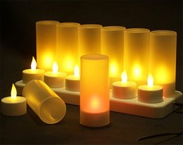 Canada 12 LED Rechargeable sans flamme Bougie Thé Lumière Creative LED Électronique Décorer Fête De Noël Bougie Dîner Bougies cheap dinner lamps Offre