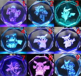 Wholesale Design Promotion Gift - Poke Crystal Monster Keychain 3D Cartoon Keyring Pocket Monster Anime Game Figure Gifts Led Key Chain 72 designs-J1124