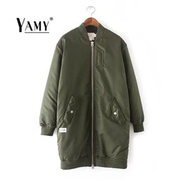 Wholesale Stand Up Collar Jackets - Wholesale- Fashion 2016 stand collar long sleeve Basic Jackets Coat women thicken zip up big pockets Autumn Winter long Bomber Jacket Coat