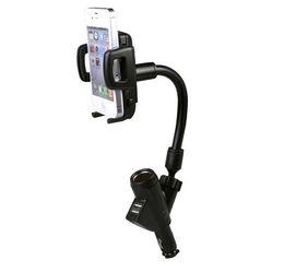 Chargeur allume-cigare portable en Ligne-Deux supports de téléphone portable USB 2A avec supports de chargeur de briquet de voiture à 360 degrés de rotation pour iPhone 7 Samsung Galaxy avec boîte de vente au détail
