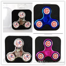 Wholesale Cubs Team - Chrome Fidget Spinner CUBS New York Yankess 2 Sides Logo Baseball Team Hand Spinners Metal Color Gold Plated Tri-Spinner Toys with PVC Box