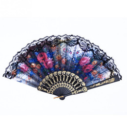 Wholesale Decoration Chinese Fan - Chinese Vintage Lace Floral Pattern Home Decoration Crafts Plastic Fan Summer Accesory Art Folding Carved Hand Fan