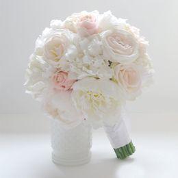Wholesale Wedding Bouquet Bride Roses - Custom Made Ivory Wedding Bouquets Wedding Flowers Bridal Bouquets Peonias Bouquet Artificiales Bruidsboeket Buque Casamento High Quality
