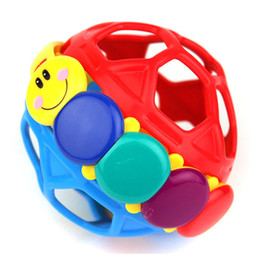 Wholesale Educational Walker - Wholesale- Bendy Ball Early Learning Baby Toy Rattles Ring Bell Toddler Fun Colorful Plastic Walker Rattle Educational Intelligence Develop