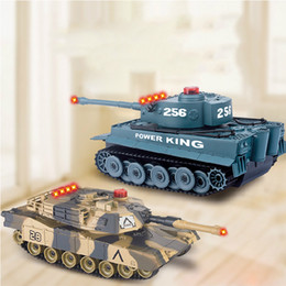 Wholesale Toy Tank Battle - Wholesale- Fighting Battle Tanks 4CH RC Infrared Shooting Tank Electric Toys Army Vehicle Big War Tank For Kids
