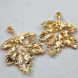 Wholesale Gold Plated Findings - Wholesale- 15PCS Gold Tone Alloy Hollow Leaf Style Pendant Charm DIY Jewelry Making Finding 27*19*2mm 39729