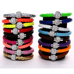 Wholesale Shambhala Set - 2017 New 19colors MIC Shambhala Weave Leather Czech Crystal Rhinestone Cuff Clay Magnetic Clasp Bracelets Bangle length Charm Bracelets