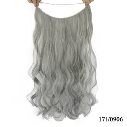 Wholesale long curly hair extensions - 10 Color Long Curly Blonde Gray Synthetic Hair Heat Resistant Fiber Hairpieces Fish Line Halo Invisible Hair Extensions