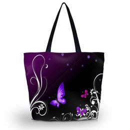 Wholesale Large Foldable Shopping Bag - Wholesale- Purple Butterfly Soft Foldable Tote Large Capacity Women Shopping Bag Bag Lady's Daily Use Handbags Casual Beach Bag Tote
