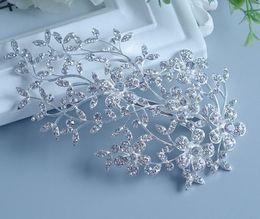 Wholesale Elegant Hair Flowers - Free Shipping 2015 Elegant Wedding Bridal Hair Accessories Jewelry Crystal Rhinestone Bridal Party Hair Comb Hairpin 1Pcs