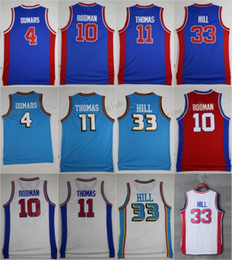 Wholesale Throwback Basketball Jerseys Joe Dumars Dennis Rodman Isiah Thomas Grant Hill Retro Stitched Basketball Jerseys Sewn Shirts S XXL