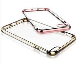 Wholesale Metal Shock Cases - For iPhone 7 7+ 6 6s 6plus Promotion Metal Electroplating Clear Back Case Soft TPU Gel Silicone Anti-shock Protector Case
