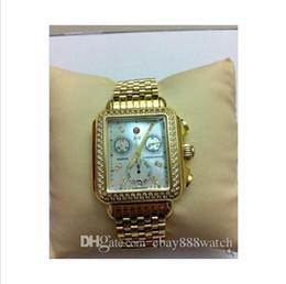 Deco online-Il più caldo !!! Michele Deco Diamond Chronograph / giorno / data completamente funzionante orologio da polso al quarzo d'oro orologi da donna