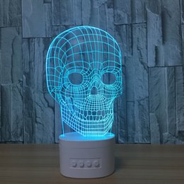 Wholesale Speaker Bluetooth Water - 3D Skull LED Illusion Lamp Bluetooth Speaker with 5 RGB Lights TF Card Slot DC 5V USB Charging Wholesale Dropshipping