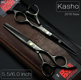Wholesale Scissors For Hair Cutting - Wholesale-Kasho 5.5 6 Professional hairdressing scissors hair cutting scissors barber shears thinning scissors for cutting hair 2pcs+bag