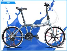 Wholesale Bike Frames Mountain Suspension - 22 inch folding bike 21 speed bicycle disc brake aluminum alloy frame mountain bike 160-185CM MTB HITO BIKE