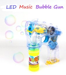 Wholesale Battery Operated Multi Color Lights - Outdoor Fun Kids Toy Automatic Bubble Gun Electric Music LED Light Bubble Gun With 2 Bottles Bubble Liquid Great Gift For Boys Girls