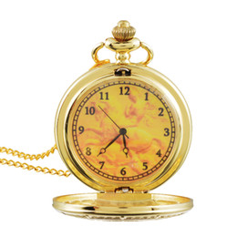 Wholesale Metal Fob Watches - Fahsion Alloy Full Metal Pocket Watch Gold Plated Pocket & Fob Watches Analog Long Chain Pendant Necklace Mens Womens Kids Gifts