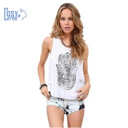 Wholesale Women White Tshirt Wholesale - Wholesale- CosyFree Summer tShirt 2016 Women White Sleeveless Sexy T shirt Fatima Lucky Hand Patchwork T-shirt Women Tops Casual T-shirt