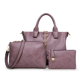 Wholesale Lavender Wax - 3 set Vintage handbags big High quality Oil wax leather purple retro somposite bags black women shoulder bag bolsa feminina