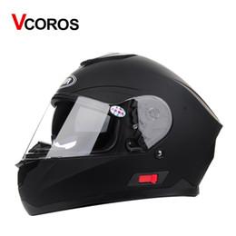 Wholesale Full Face Motorcycle Helmet Dot - Vcoros man full face Motorcycle Helmet with inner sun lens visor DOT approved double glasses winter windproof helmets