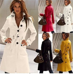Wholesale Lady Sexy Cloth - Women Wool Coat Cashmere Middle Length Women's Outwear Coats Slim Sexy Trench Coats Large Size Ladies' Cloth Overcoat