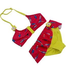 Wholesale Kids Swimsuit Separates - New Bird Printing Beach Wear For Children Girl's 2 Pieces Swimsuit Kids Biquini Infantil Menina Separate Swimsuits For Girls kid