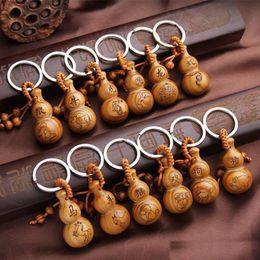 Wholesale Wholesale Wood Pillar - Gourd keychain 12 Zodiac peach wood key pendant 12 Zodiac key chain peach gourd pure hand-made accessoriesb