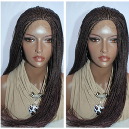Wholesale Lace Kanekalon Wig - Synthetic Hair Braided Lace Front Wigs Heat Resistant Kanekalon Micro Braided Wigs burgundy  brown  black color Synthetic Braided Lace Wig