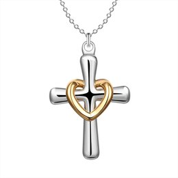Wholesale Silver Crosses Necklace - New Arrival 925 Silver Gold Heart Circle Crosses Necklace Charms Ladies Necklaces Best Selling Fit Thin Chain Necklace