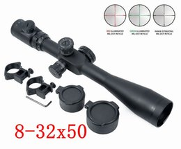 Wholesale Snipers Rifle Scope - Hunting Optical Sight Riflescopes Sniper Telescopic 8-32x50 SF Red Green Reticle Dot Hunting Shooting Rifle Scope W  20mm Rail