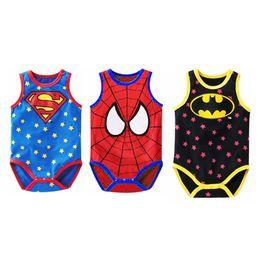 Wholesale Superman Baby Girl - Baby Boys Girls Romper Sleeveless Rompers Baby Jumpsuit Superman Spiderman Batman Romper Cosplay Costume