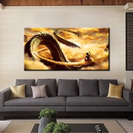 Искусство аниме Онлайн-Single Unframed Fly с шаром дракона Goku Cloud Anime Painting On Canvas Giclee Wall Art Painting Art Picture Для дома Decorr