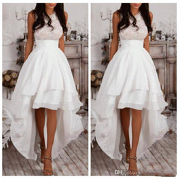 Wholesale Draped Halter Top - White Halter A Line High Low Prom Dresses Chiffon Tiered Women Homecoming Dress Cheap Lace Top