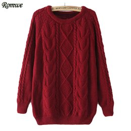 Wholesale Knit Cable Sweater - Wholesale-ROMWE Brand Newest Casual Hot Sale High Street Autumn Pullover Round Neck Long Sleeve Cable Knit Loose Wine Red Sweater