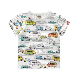Wholesale Kids T shirt Cartoon Cars Girls Boys Shirts Summer Tops Tees Multi color Printed O neck Cotton T shirts T
