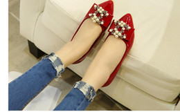 Wholesale Low Heel Patent Leather Pumps - Ladle shoes female pointed flat pearl spring shoes single diamond drill big yards for women's shoes
