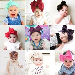 Wholesale Solid Hair Bow - 18 colors Baby Girls big Bow Headbands Infant Solid hair band cotton kids Hair Accessories 107.5*7cm 42inch*3inch