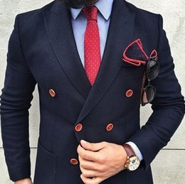 Wholesale custome made suits - Wholesale- Navy Bule Double Breasted Suits Custome Made Fashion Blazer Formal Office Business Party Wedding Tuxedos Cool (Javket+Pant+Tie)