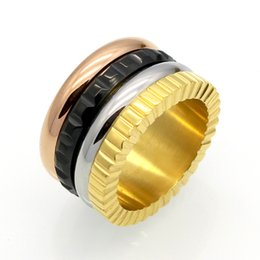 Wholesale Gold Plated Men S Rings - Men 's Gear Titanium Stainless Steel 4 Color Rotating Ring rose gold&silver&black&rose gold Metal color Wedding Band Luxury Jewelry