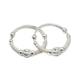 Wholesale Sterling Silver Bracelet For Children - 925 Sterling Silver Bangle Lucky Silver Bangle For Lovely Children Smiling Monkey Bangle Bracelet Gift BC00329