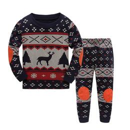 Wholesale Kids Winter Pjs - Christmas Kids Outfits Cotton Long Sleeves Clothing Suits Elk Deer Christmas Tree Clothes Stripe Azure Blue PJS Pajamas