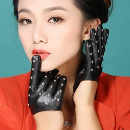 Wholesale Lady Gaga Cosplay - Wholesale- 2017 cosplay fingers women sex pole dancing lady gaga model rivet half palm supple nappa leather driving gloves mittens